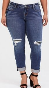 Torrid bf jean distressed lace medium wash